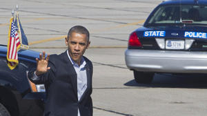 Update: Obama greets supporters at Newport News airport