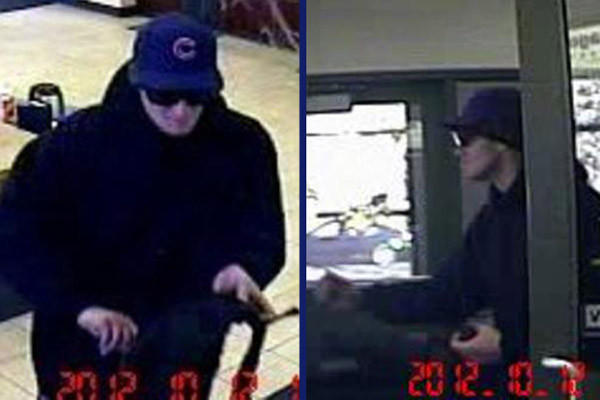 Surveillance photos of a man who robbed Roscoe Village bank on Friday. FBI photos.