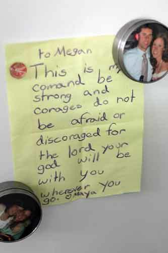 Meghan Malley keeps a note of encouragement on her refrigerator. She was diagnosed with breast cancer at 29 and has recently finished a five-month round of chemotheraphy. She is starting a suport group for young adults with cancer.