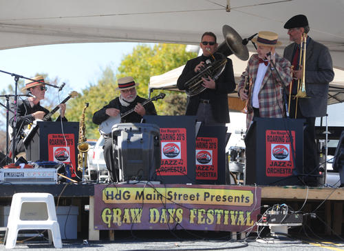 Ben Mauger's Vintage Jazz Band plays in the Speakeasy at Graw Days in Havre de Grace Saturday.