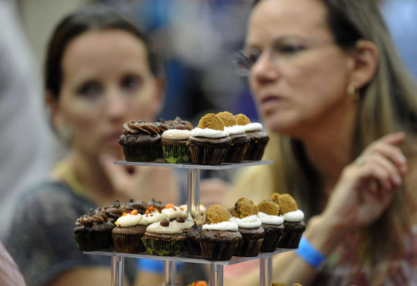 Visitors to the Festival of Chocolate at the Nova Southeastern University Arena Saturday were temped by all types of chocolates including miniature cupcakes by  Royal Treatz.