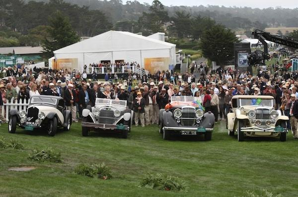 A quartet of cars line up just before the Best of Show winner at the 2012 Pebble Beach Concours d'Elegance is announced. Moments later, the  1928 Mercedes-Benz 680S Saoutchik Torpedo, second from the left, was announced as the winner.