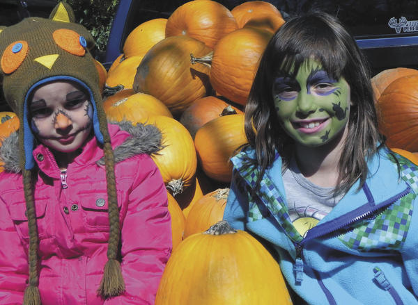 Lauren Rippeon, 5, of Hagerstown and her cousin, Ady Tressler, 9, of Greencastle, Pa., take a break from all of the activities Saturday at the 29th annual Apple Festival at the Tayamentasachta Center for Environmental Studies in Greencastle.