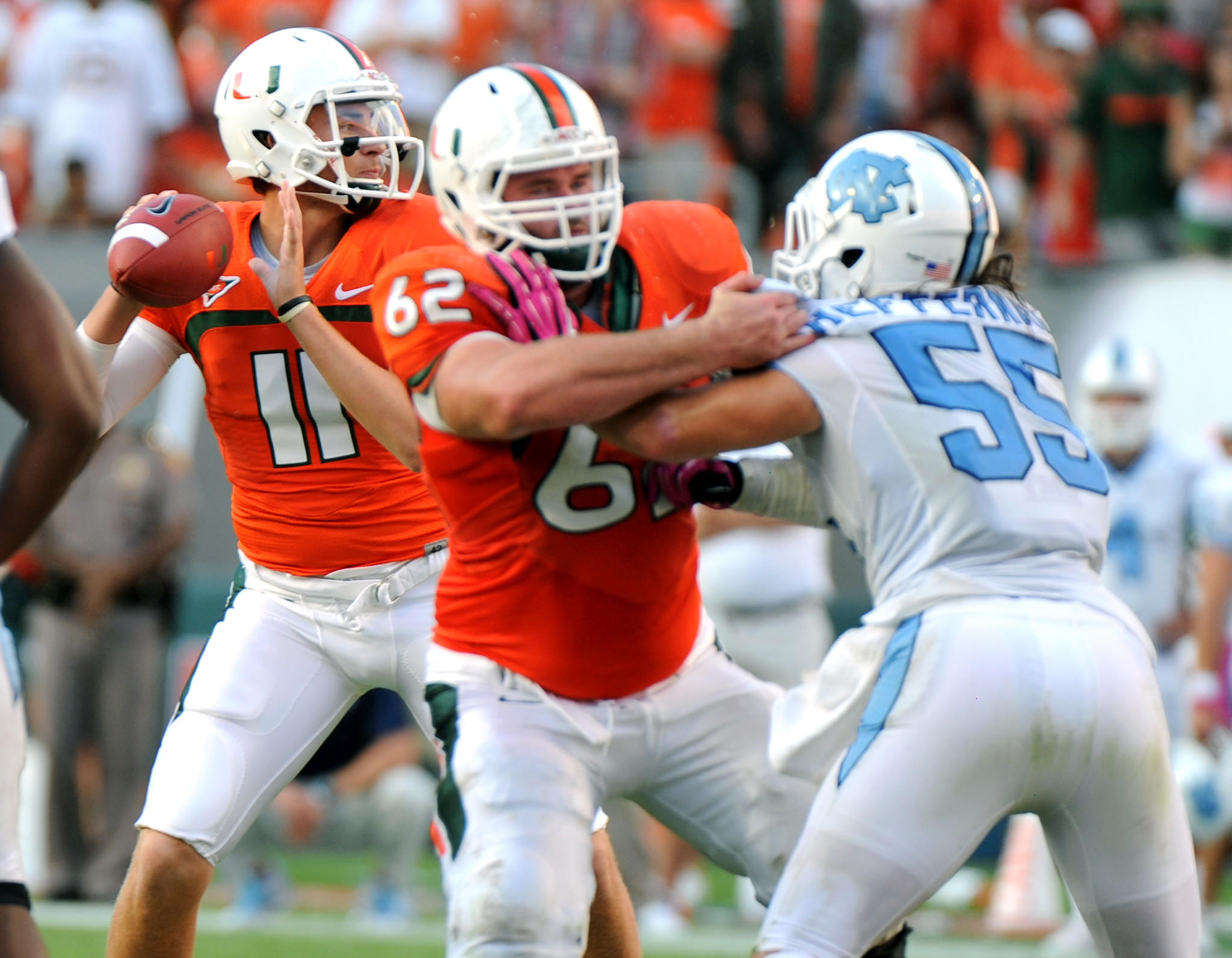 University of Miami quarterback Ryan Williams took over the offense against North carolina after Stephen Morris left the game with an injured ankle.