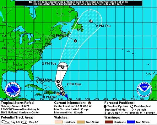 Tropical Storm Rafael is projected to take aim at Bermuda on Tuesday as a hurricane.