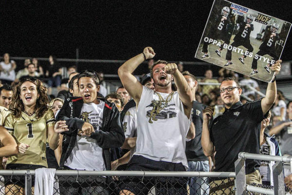 University of Central Florida fans react during third quarter action of a C-USA football game against Southern Miss at the Brighthouse Networks Stadium on Saturday, October 13, 2012 in Orlando, FL.