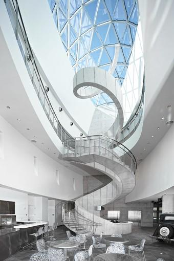 The helical staircase at the Dali Museum in St. Petersburg is a centerpiece of the building's design.