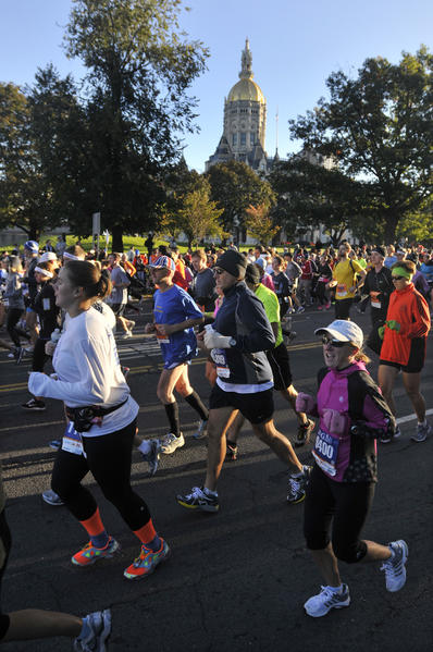 Scene from the Hartford Marathon Saturday.