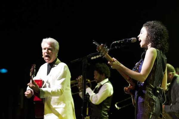 David Byrne and St. Vincent, also known as Annie Clark, perform at the Greek Theatre on Saturday night.