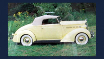 The 1937 Packard 115-C Convertible Coupe owned by Chuck Speicher.