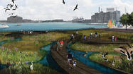 If a little green might help restore Baltimore's ailing harbor, how can a lot be bad? That's the question city, state and federal officials are pondering as they weigh a local marina magnate's plan to fill an unused corner of the Inner Harbor with a large floating marsh.
