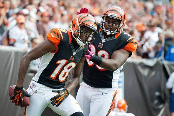 A.J. Green no. 18 celebrates with fullback Chris Pressley #36 of the Cincinnati Bengals during the second quarter after Green scored a touchdown against the Cleveland Browns. Cleveland won 34–24.