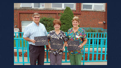 Nathan Thomas, MD, Kathy Thomas, and Dottie Paulman (from left) all received the Caring Gold Star at a special reception held for them at the Conemaugh Meyersdale Medical Center.