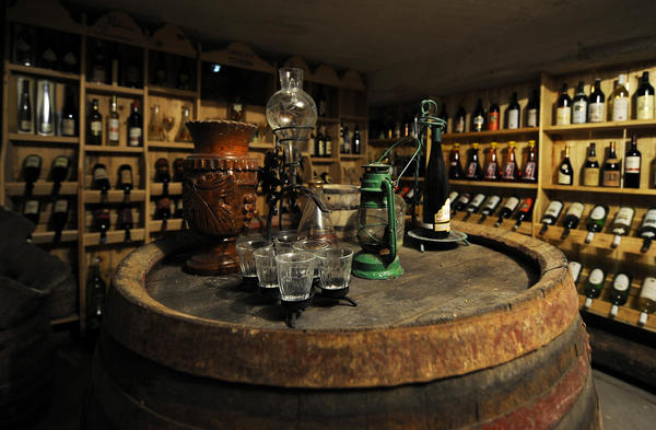 The ine cellar in a farm house converted to a rural inn in the picturesque Serbian village of Cerevic north of Belgrade.