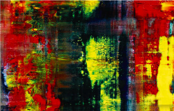 "A detail of Gerhard Richter's ""Abstraktes Bild"" that recently sold for approximately $34 million at a Sotheby's auction. The painting was owned by Eric Clapton."