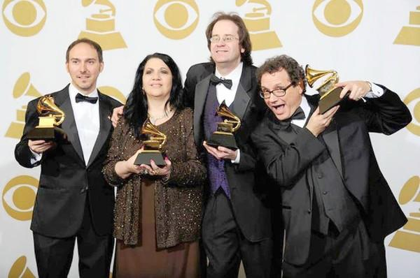 James Cravero (from left), Gloria Domina of Allentown, Kevin Mackie of Quakertown and Steve Pullara won a Grammy award for producing 'All About Bullies Big and Small.'