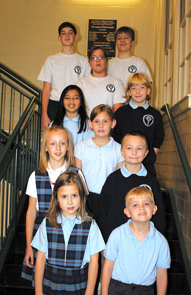 Saint Mary Catholic School's Good SAMS for September were, row one, from left, Shanna Hall and Landon Smith; row two, Julia Singer and Noah Karn; row three, Madison Smith; row four, Therese Martin and Camden Thomas; row five, Charlotte Larkin; and row six, Taylor Patterson and John Agostinelli.