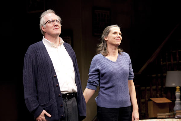 "Tracy Letts and Amy Morton of Steppenwolf Theatre acknowledge the audience on the opening night of ""Who's Afraid of Virginia Woolf?"" at the Booth Theatre in New York."