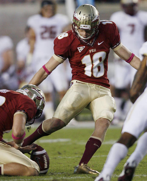 FSU kicker Dustin Hopkins kicks a field goal during the Boston College at Florida State University football game at Doak Campbell Stadium in Tallahassee on Saturday, October 13, 2012. The kick gave Hopkins the all-time FSU and ACC points record.