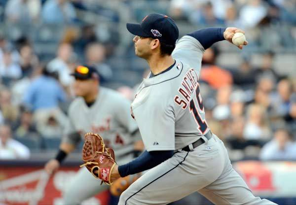 Detroit Tigers starting pitcher Anibal Sanchez throws a pitch against the New York Yankees in the 1st inning during game two of the 2012 ALCS at Yankee Stadium.