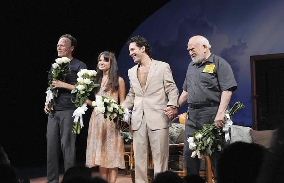 "Michael Shannon, Kate Arrington, Paul Rudd and Ed Asner take their curtain call for ""Grace""  at the Cort Theatre in New York."