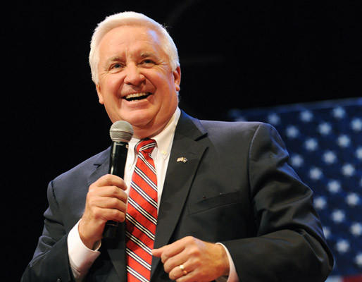 Pa. Governor Tom Corbett introduces Ann Romney, wife of Republican Presidential hopeful Mitt Romney, at Elizabethtown College in Lancaster County Monday.