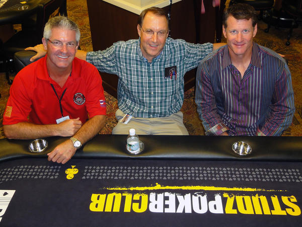 "Austin Miller, left, <i>Sun Sentinel's</i> Nick Sortal and Jeff Conine at the second annual ""Jeff Conine Celebrity Poker Classic,"" which recently took place at Calder Casino and Race Course and raised $115,000 for Joe DiMaggio Children's Hospital."
