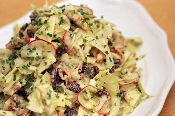 Waldorf salad with curried mayonnaise dressing