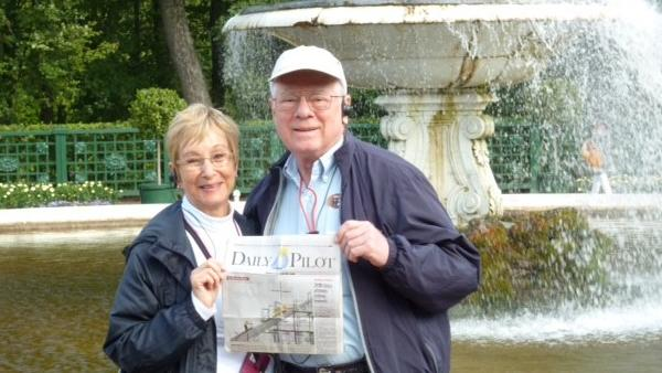 Jacquee and Mel Lipson of Newport Beach at the State Peterhof Museum Reserve in St. Petersburg, Russia.