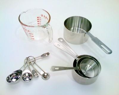 Dry and wet measuring cups and spoons.