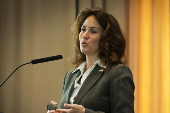 Hartford Schools Superintendent Christina Kishimoto presents the citywide test scores to business leaders at the MetroHartford Alliance's Rising Star breakfast on Sept. 14 at the Bushnell.