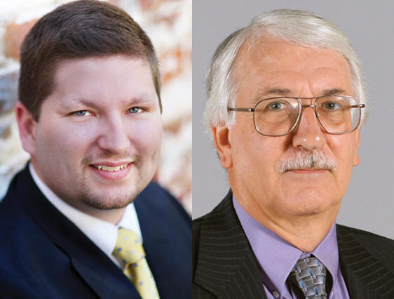 Jason Barrett, left, and Del. Walter E. Duke, R-Berkeley, are vying for the 61st district in the W.Va. House of Delegates
