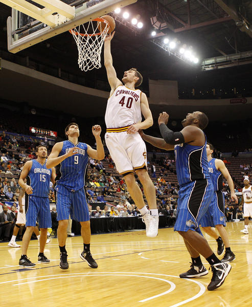 Cleveland Cavaliers forward Tyler Zeller (40) makes a layup during the first half against the Orlando Magic at US Bank Arena.