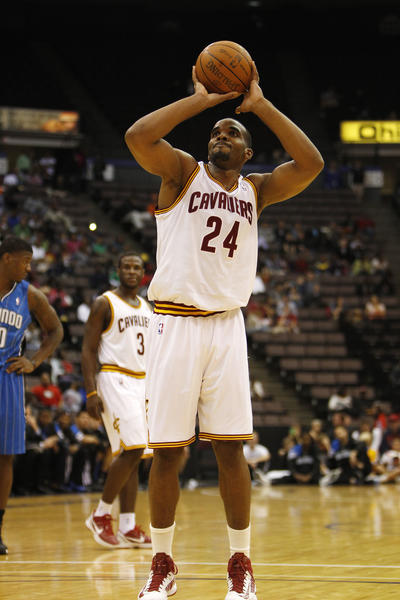 Cleveland Cavaliers forward Samardo Samuels (24) shoots a foul shot during the first half against the Orlando Magic at US Bank Arena.