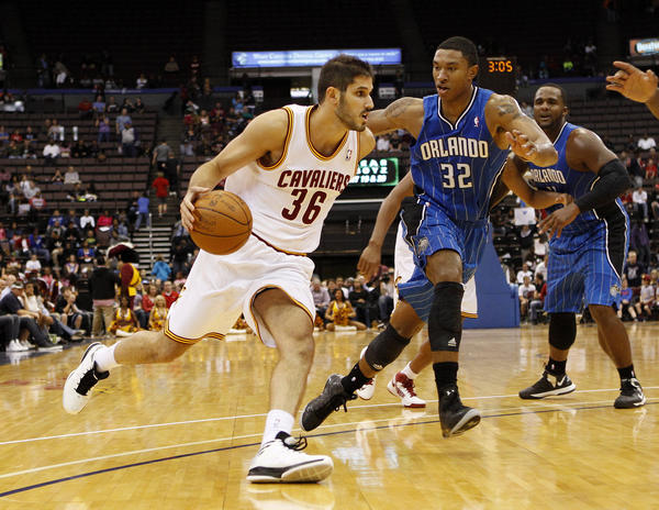 Cleveland Cavaliers guard Omri Casspi (36) drives to the basket during the second half against the Orlando Magic at US Bank Arena. The Cavaliers defeated the Magic 114-111 in overtime.