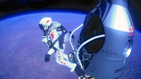 Pilot Felix Baumgartner of Austria became the first man to break the sound barrier in a jump from the edge of space.