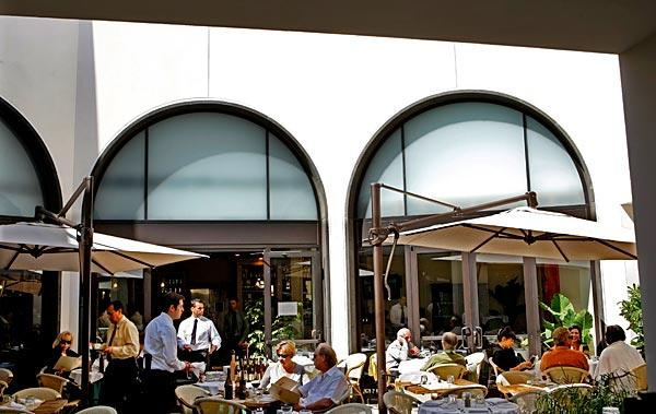 The outdoor dining area at Beverly Hills' revamped Caffe Roma seats up to 70.