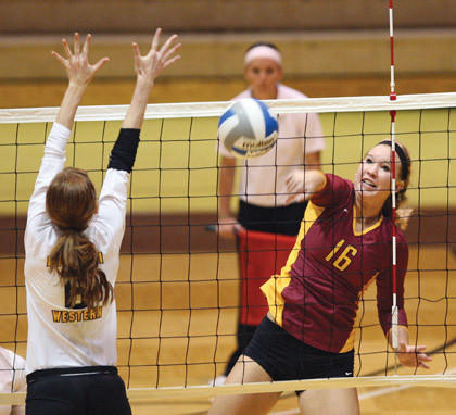 Northern State University's Macey Finizio, right, hits the ball past Missouri Western State University's Stephanie Hattey, left, during a Sept. 1 match in the Northern State/Dacotah Bank Classic at Wachs Arena. American News Photo by John Davis