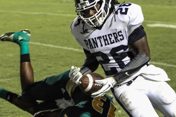 Dr. Phillips safety Marcell Harris intercepts a pass during the Panthers' recent win over DeLand.