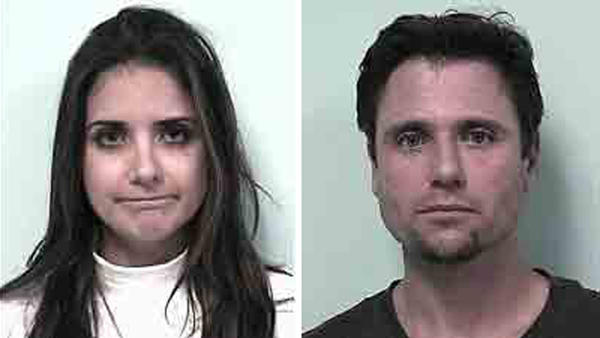 Siblings Amanda and Robert Larrivee claimed they were having sex in a sports bar bathroom but were actually trying to steal a television, police said.