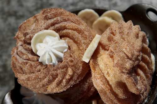 Despite the restaurant's modernist tendencies, the crullers appear untouched by science.
