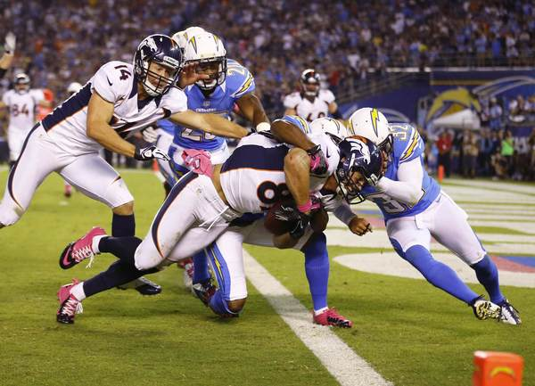 Denver Broncos wide receiver Eric Decker (87) scores a second half touchdown against the San Diego Chargers during their Monday Night NFL football game in San Diego, California October 15, 2012.