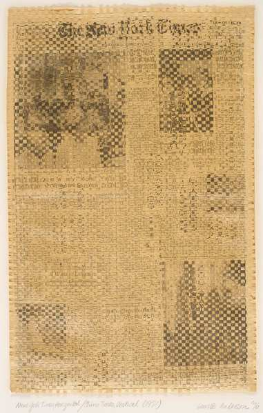 "Laurie Anderson's ""New York Times, Horizontal/China Times,"" vertical, 1976 (first conceived 1971) woven newspaper."