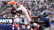 Giants' Adrian Tracy tackles Browns' Josh Cribbs