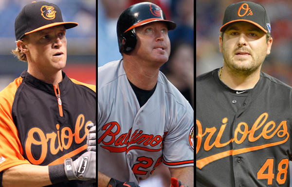 The big three are Nate McLouth, Jim Thome, and Joe Saunders. There are other pending free agents such as Endy Chavez, Randy Wolf, Bill Hall and Nick Johnson, but they're not in the future plans. The Orioles have a $1 million option (with a $100,000 buyout) for reliever Luis Ayala. It would be a surprise if they didn't pick it up considering Ayala pitched to a 2.64 ERA in 64 games this year.<br>