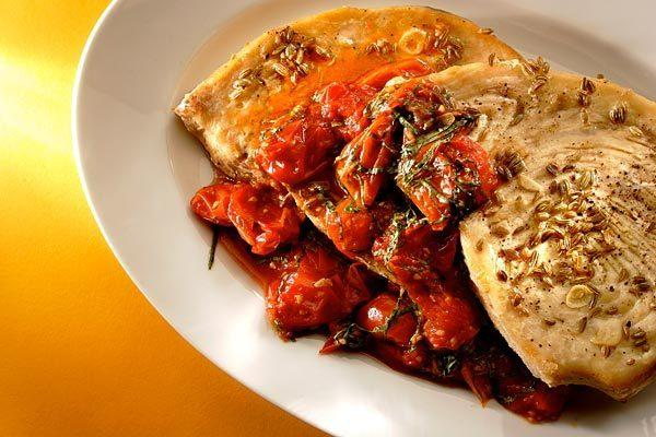 Swordfish with tomatoes and fennel.