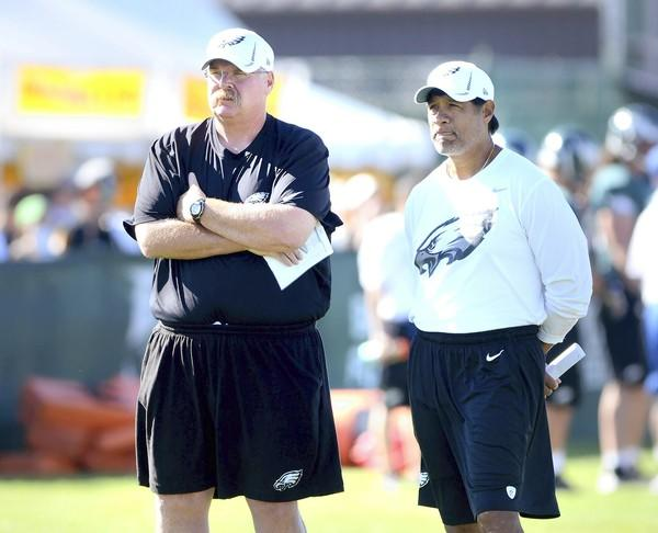 Head coach Andy Reid, left, and defensive coordinator Juan Castillo.