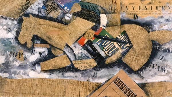 "Carlo Carra's ""Pursuit"" 1915 tempera, charcoal, and collage on cardboard."