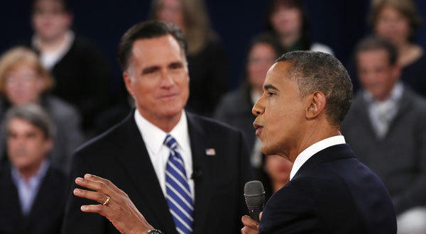 President Obama makes a point during the second presidential debate, at Hofstra University in Hempstead, N.Y.