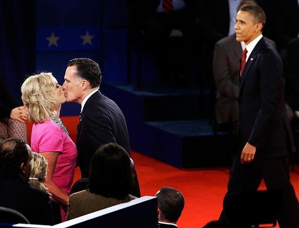 Mitt Romney kisses his wife, Ann, at the end of his second debate with President Obama, at Hofstra University in Hempstead, N.Y.